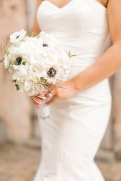 Classic wedding bouquet idea - all-white anemones, roses and hydrangeas with a hint of jasmine {Arte De Vie}