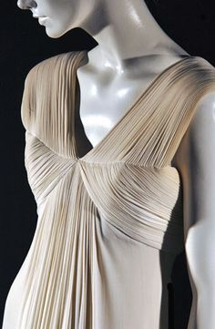 Vintage dress detail with narrow pleats & structured design; fabric manipulation; couture sewing; drape // Madame Gres, silk jersey dress, 1963