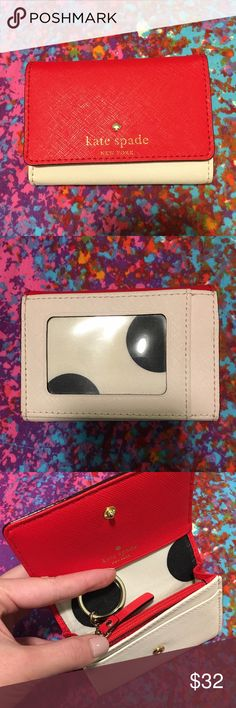 Kate Spade Cedar Street Darla Well loved Kate Spade Cedar Street Darla wallet in the color Cherry/Ballerina, a beautiful vibrant red and baby pink combo. It's a small wallet perfect for students and those on the go. It has two card slots on the interior, another card slot on the exterior and one open slot for ID/pictures. Interior has space for cash or extra cards and a coin slot. A small piece of piping has come off on the side but other than that it's in almost perfect condition. Comes…