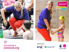 World famous athlete Rebecca Adlington interacts with young swimmers at Stalybridge swimming pool in Stockport for Join In Summer 2013.