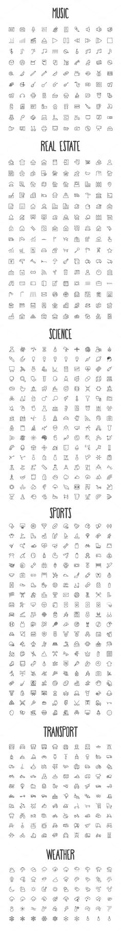 2440 Hand Drawn Doodle Icons Bundle by creativestall on Crea.- 2440 Hand Drawn Doodle Icons Bundle by creativestall on Creative Market - Doodle Drawings, Doodle Art, Doodle Frames, Music Doodle, Doodle Tattoo, Small Drawings, Tattoo Drawings, Bullet Journal Inspiration, Small Tattoos