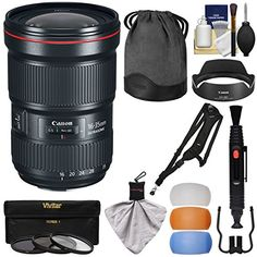 Introducing Canon EF 1635mm f28L III USM Zoom Lens with 3 UVCPLND8 Filters  Flash Diffusers  Sling Strap  Kit. Great Product and follow us to get more updates! Nikon D3100, Sony A6000, Canon Zoom Lens, Canon Ef, Iphone 6, Camera Photos, Binoculars, Lenses, Diffusers