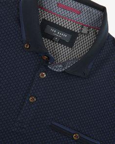 Jacquard polo shirt - Blue | Tops & T-shirts | Ted Baker UK
