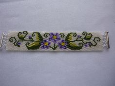 Peyote Bracelet Pattern Violet Border in TWO SIZES