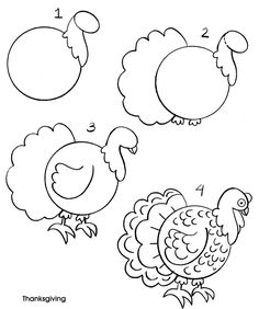 Turkey Drawing | an owl draw an owl draw a parrot draw a peacock draw a penguin draw a ...