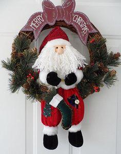 Merry-Christmas-Santa-Door-Wall-Wreath-Holly-Garland-Pinecones-Handmade-New
