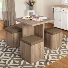 Contemporary 5-Piece Dining Set Stylish Kitchen Furniture Laminated Taupe Vinyl