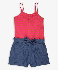 Striped Chambray Romper | FOREVER21 girls - 2000041292