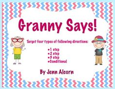 TpT: Granny Says! {Following Directions Freebie} Pinned by SOS Inc. Resources. Follow all our boards at pinterest.com/sostherapy/ for therapy resources.