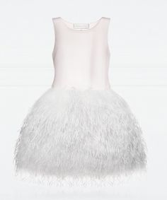 Baby Dior couture powder pink satin dress with white feathers £2,600