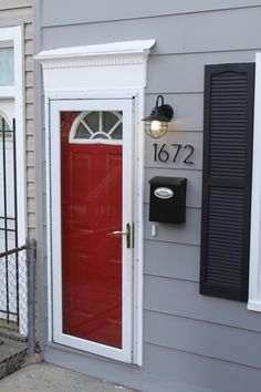 Red Door Grey House grey house | grey shutters | yellow door | exterior | pinterest