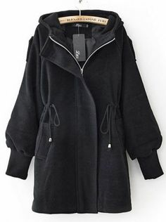 Black Trumpet Sleeve Drawstring Waist Hooded Woolen Coat pictures