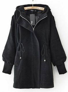 Black Drawstring Woolen Coat.