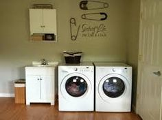 Cute Laundry Room Decor - Discover home design ideas, furniture, browse photos and plan projects at HG Design Ideas - connecting homeowners with the latest trends in home design & remodeling Country Laundry Rooms, Laundry Room Wall Decor, Laundry Room Bathroom, Small Laundry Rooms, Laundry Room Organization, Small Bathroom, Laundry Area, Garage Laundry, Laundry Center