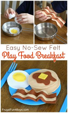 We're back with another no-sew felt play food idea! Make an adorable breakfast set complete with pancakes, eggs, and bacon. The eggs fit inside plastic eggs so that kids can pretend to crack them open and cook them. So fun! Kids Play Food, Felt Play Food, Pretend Food, Pretend Play, Play Food Set, Diy For Kids, Crafts For Kids, Crafts With Felt, Diy Crafts