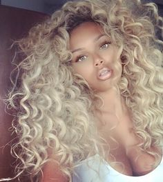 Curly Bleach Blonde Hair Curls Rock Mixed Chicks Pretty Girl Swag