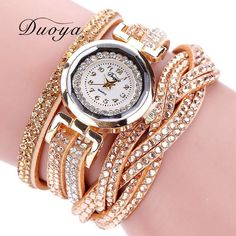 Women Leather Gold Bracelet Watch