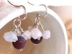 Agate & rosequartz sterling silver cluster earrings. by BGLASSbcn, $45.00