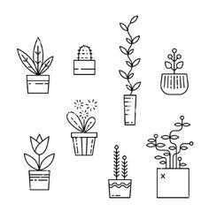 Line house plants icon set vector