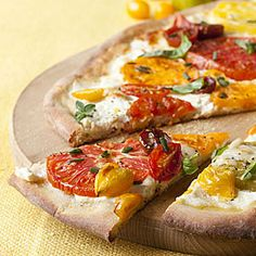 Tomato ricotta pizza - use or make GF crust of your choice.  And with garden fresh herbs and tomatoes?  Yum-o!  Great for summer.
