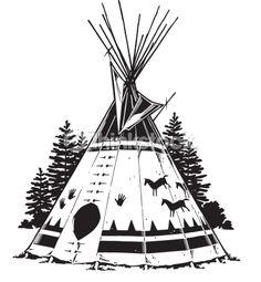 Drawings Of Teepees Native American Teepee Symbols Teepee Grouped Elements Vector