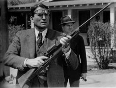 This picture is from the scene where Atticus shoots the dog (forgot his name). This is the only occasion where we see Atticus use a gun, and it shows how much he resorts to non-violent means.