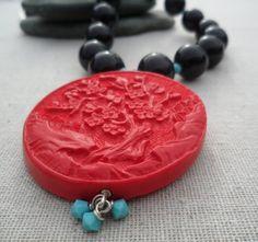 Cinnabar Necklace Turquoise Statement by TigerFlowerJewelry, $38.00