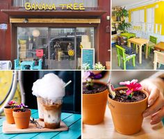 Banana Tree full-on banana concept, they say this cafe was made popular by a member of the K-pop idol group U-Kiss. Inspired by New York City's Magnolia Bakery, one of this establishment's most popular items is their Somsom Latte, a latte with cotton candy-covered banana inside, as well as a banana tiramisu in the shape of a flower vase, enhancing the banana theme with its interior, drinks and food.