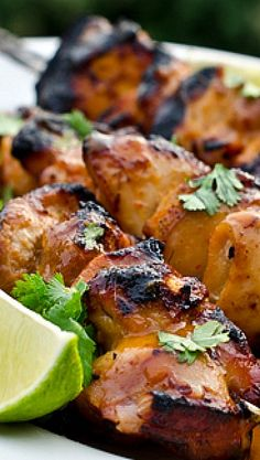 Honey, Lime & Sriracha Chicken Skewers Recipe ~ Says: are every bit as good as they look. And, if you've never tried Sriracha — the Asian hot sauce named after the coastal city of Si Racha in Thailand — this is the perfect recipe to taste just how delicious it is.