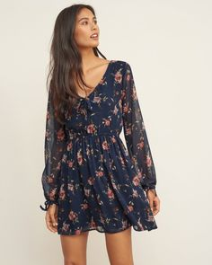 45fa93dbeb6b Navy floral peasant dress from Abercrombie   Fitch. Jumpsuit Dress