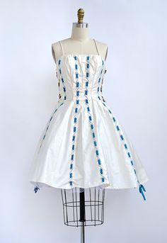 vintage 1950s reconstructed ribbon party dress [Trail of Rivers Dress] - $54.60 : ADORED   VINTAGE, Vintage Clothing Online Store