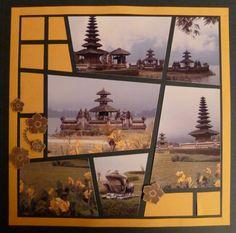Bali scrapbook layout: Un vitrail pour Bali… utilisation de papier jusque dans le cadre; tampons fleurs; détourage et positionnement des fleurs en 3D. Pinned from Azza Let's Create blog by Marielle Ecalle who also created the layout.