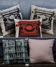 The Typewriter Cushion Collection (2011) & Hibernian House with How to Live Long backing by Mark Cawood of Publisher Textiles, a hand-screenprinting studio in Australia via Yellowtrace