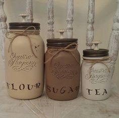 Super cute Mason jar canisters! Customizable options available