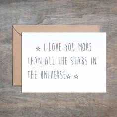 I Love You More Than All the Stars in the Universe. Funny Love Card. Funny Birthday Card. Funny Anniversary Card. Funny Valentine's Day Card