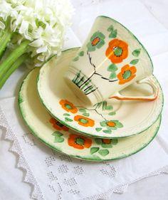 Art Deco Trio Handpainted Orange & Spring Green by keepsies, £12.00