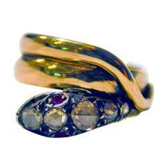 Antique Ruby Diamond Snake Ring