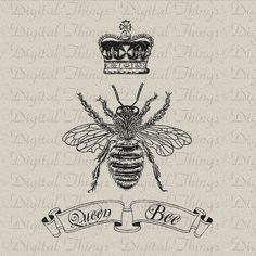 Bee With Crown Tattoo | Queen Bee Crown Script Digital Download for Iron on Transfer Fabric ...