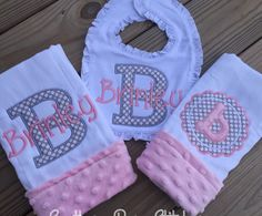 Baby girl applique burp cloth and bib set with minky and personalized with name monogram by SouthernBornStitches on Etsy