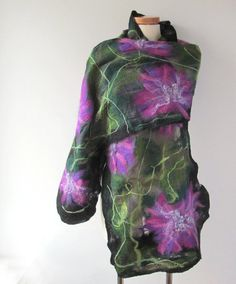 Nuno Felted scarf   purple  green flower asters by galafilc, $98.00