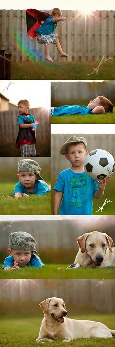 Superhero boy! 4 yr old, super kid, super hero photoshoot, superhero photo idea, boy and puppy, yellow lab puppy
