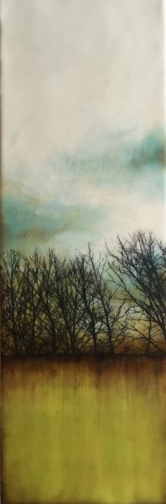 """where shadows fall"" 8""x24"" Encaustic artwork"