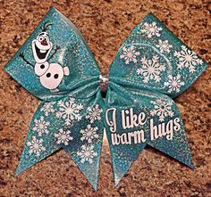 Frozen Bow Olaf inspired Cheer Bow by Baddablingbows on Etsy Frozen Bows, Cute Frozen, Cute Cheer Bows, Cheer Mom, Cheer Stuff, Softball Bows, Cheerleading Bows, Diy Hair Bows, Diy Bow