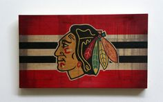 Decorative Wooden Plaque with Chicago Blackhawks by WOODSNACKS