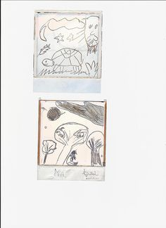 """polaroid drawing -    Drawing made on the halves of the Polaroid picture """"Turtle"""" and """"Two goats on the Argan tree""""..."""