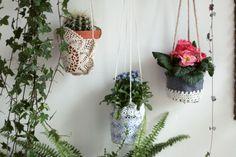 Repurposed vintage doily hanging planter baskets