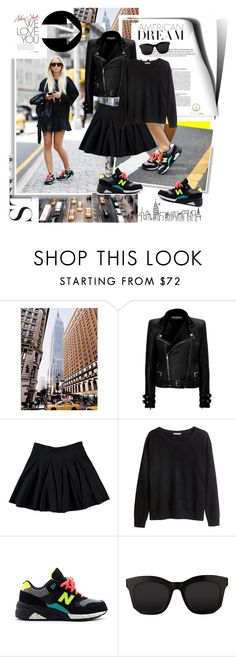 """""""Blogger style: ALL Black&Casual Sneakers"""" by hamaly ❤ liked on Polyvore featuring Paul Frank, Balmain, H&M, New Balance, STELLA McCARTNEY, StreetStyle, blogger, BloggerStyle and winterstyle"""