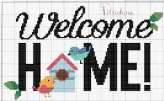 welcome home home sweet home schema punto croce