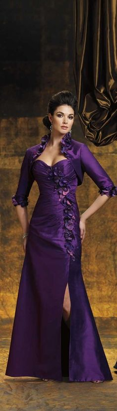 Mon Cheri ~ Royal Purple Silk Shantung Floral Gown, Stunning