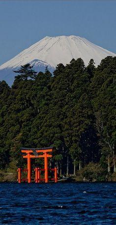 Mt. Fuji overlooking Lake Ashi near the resort town of Hakone, Japan   Photo: Jeff Laitila on Flickr